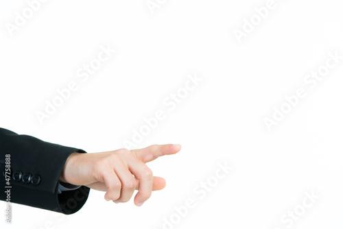 geschäftsmann zeigt mit dem finger