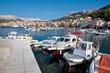 Port and Boats at Baska background Baska old town - Krk - Croati