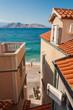 Baska beach and sea view though town houses - Krk - Croatia