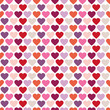Seamless Pattern Hearts Retro White