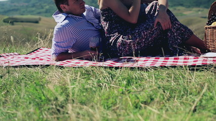 Picnic - Romantic happy couple celebrating with wine in sunny na