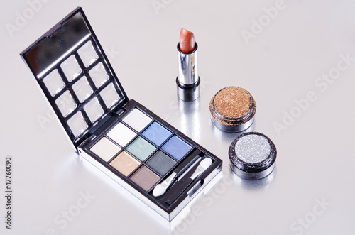 Makeup kit on silver