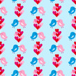 Seamless Pattern Two Birds Kissing Heart Balloons Blue