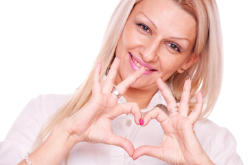 Blonde make heart shape