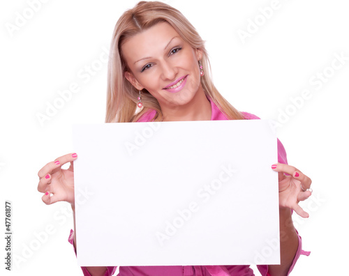 Blonde holding blank paper