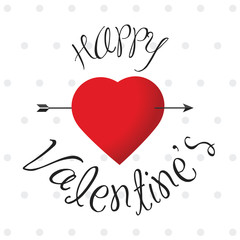 Glossy Happy Valentine's label with heart