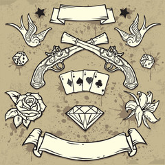 Set of Old School Tattoo Elements