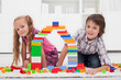 Happy children with blocks