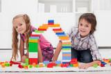 Happy children with blocks