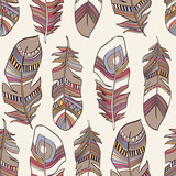 seamless ethnic Indian feathers plumage  pattern