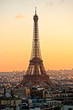 Eiffel tower at sunset Paris.