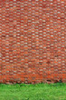 Brick wall background with grass