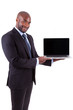 African Amercian business man showing a laptopn screen