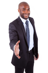 A black  businessman giving a hand