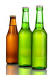 three bottles of beer isolated on white