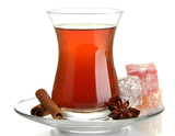 glass of Turkish tea and rahat Delight, isolated on white