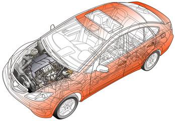 自動車の透視イラスト