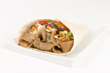 Donner Kebab Wrap: Donner meat, salad & sauce in a flatbread