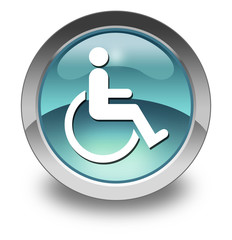 "Light Blue Glossy Pictogram ""Disability Access Symbol"""
