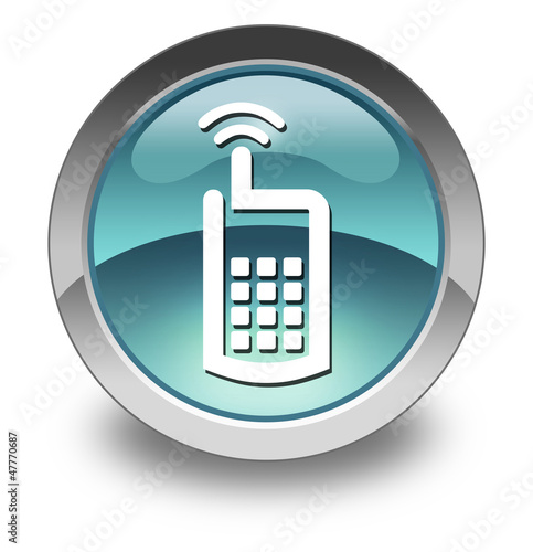 "Light Blue Glossy Pictogram ""Cell Phone"""