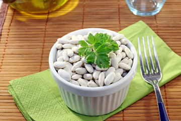 White beans on the table
