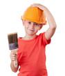Girl holds the paintbrush