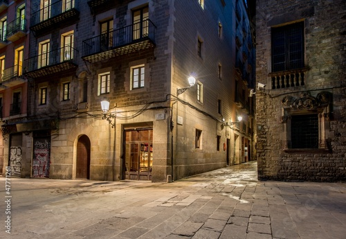 Empty street of Barri Gotic at night, Barcelona
