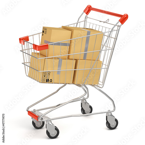 Boxes in shopping cart