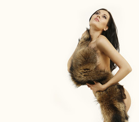 young woman in a fur coat
