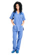 Full length nurse isolated on white