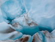 Detail of blue ice on a glacier