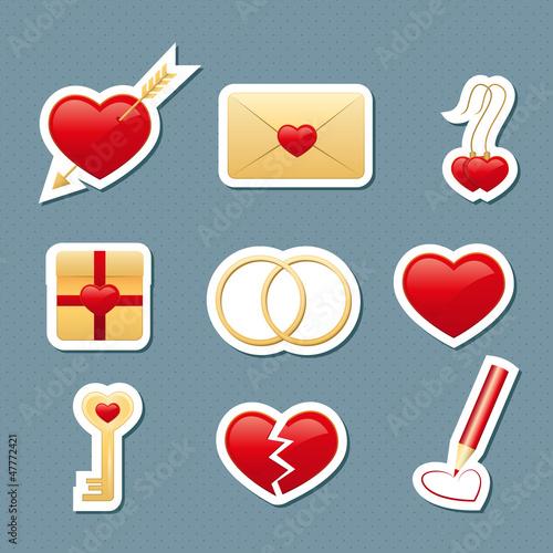 набор бумажных иконок ко дню святого валентина