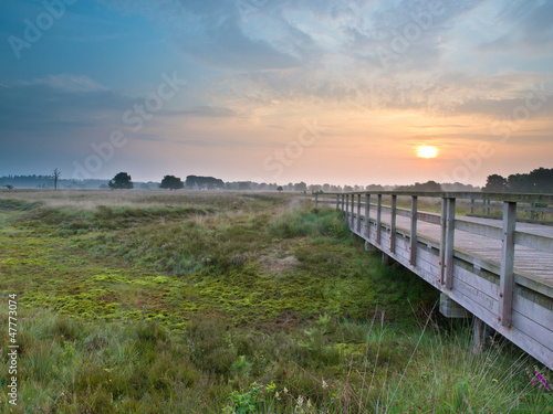 Wooden bridge during sunrise