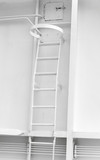 White metal naval ladder closeup detailed photo