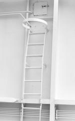 White metal naval ladder closeup detailed photo