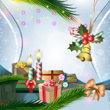 Christmas decoration with candles, gifts, fir, holly and bell