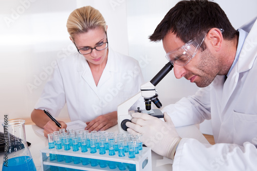 Technicians or medical staff in a laboratory