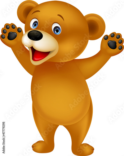 Funny baby brown bear cartoon
