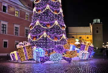 Christmas decorations in Warsaw