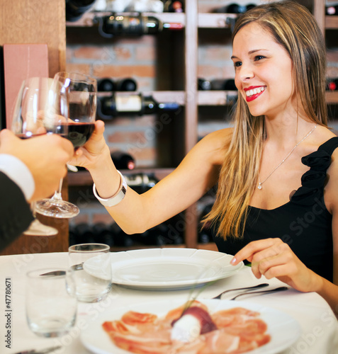 Dinner in a luxury restaurant