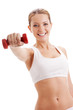 beautiful woman holding dumbbell