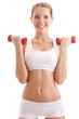beautiful woman holding two dumbbells