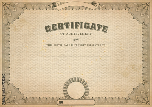 vintage certificate template with headline