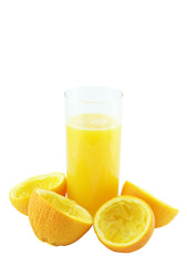 Orange juice with hand, squeeze of orange.
