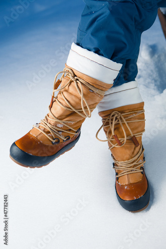 winter shoes in snow, close-up