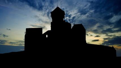 Slovakia Trencin Castle blue sunset