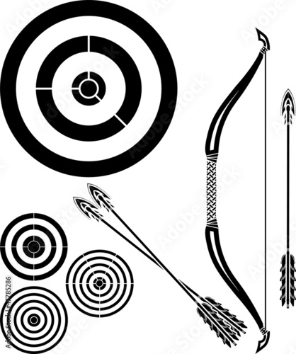 stencil of bow, arrows and targets