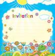 Card - invitation. Illustration in a children's style