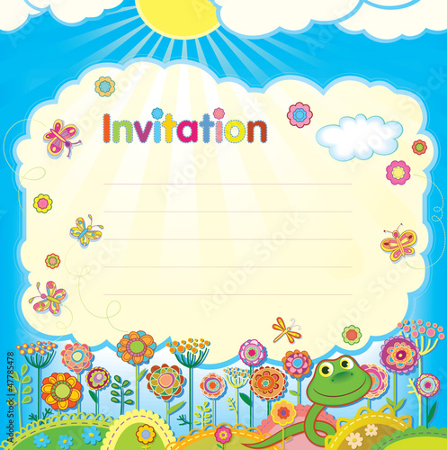 Card - invitation. Illustration in a children's style