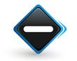 icône moins sur bouton carré bleu design